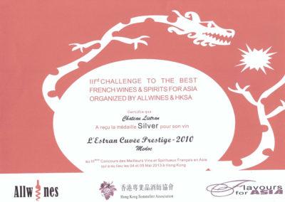 ALLWINES 2013 Médaille d'Argent l'Estran 2010