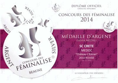 FEMINALISE 2014 Médaille d'Argent l'Estran 2010