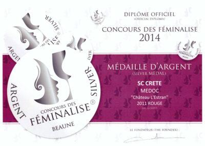 FEMINALISE 2014 Médaille d'Argent l'Estran 2011
