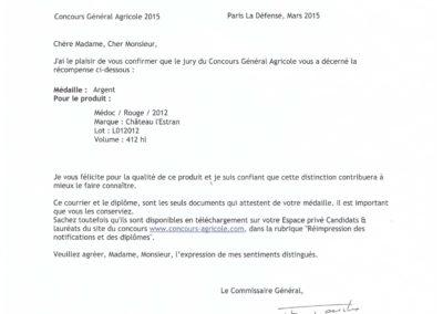 Paris 2015 Médaille d'Argent l'Estran 2012